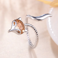 925 Sterling Silver Cuff Finger Ring Fox open   adjustable   for woman   with cubic zirconia US Ring Size:8