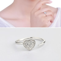 925 Sterling Silver Cuff Finger Ring Heart open   adjustable   for woman   with cubic zirconia 7x7.50mm US Ring Size:7.5