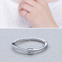 925 Sterling Silver Cuff Finger Ring open   adjustable   for woman   with cubic zirconia 2.50x2.70mm US Ring Size:8