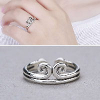 925 Sterling Silver Cuff Finger Ring open   adjustable   for woman 7x9.50mm US Ring Size:7.5