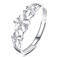 925 Sterling Silver Open Finger Ring Flower adjustable   for woman   with cubic zirconia 6x6mm US Ring Size:7.5