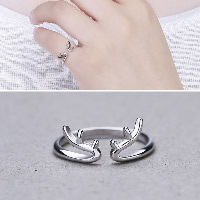 925 Sterling Silver Cuff Finger Ring open   adjustable   for woman 6mm US Ring Size:6.5