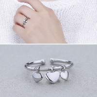 925 Sterling Silver Cuff Finger Ring Heart open   adjustable   for woman 5x5.50mm US Ring Size:7