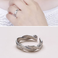 925 Sterling Silver Cuff Finger Ring open   adjustable   for woman 4mm US Ring Size:7