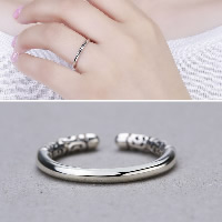 Thailand Sterling Silver Cuff Finger Ring open   adjustable   for woman 2.50mm US Ring Size:9
