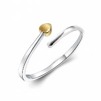 925 Sterling Silver Cuff Finger Ring Heart plated open   adjustable   for woman 6mm US Ring Size:6.5