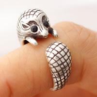 цинковый сплав Манжеты палец кольцо, Ёж, плакированный цветом под старое серебро, регулируемый & Женский & со стразами, не содержит свинец и кадмий, 15-16mm, размер:4-5, продается PC