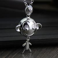 Кулоны из серебра, Серебро 925 пробы, обезьяна, отверстие, 36x55mm, отверстие:Приблизительно 3x5mm, продается PC
