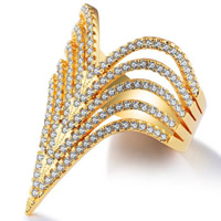 Кубический циркон микро проложить кольцо-латунь, Латунь, 18K золотым напылением, разный размер для выбора & инкрустированное микро кубического циркония & Женский, 30mm, отверстие:Приблизительно 10-12mm, продается PC