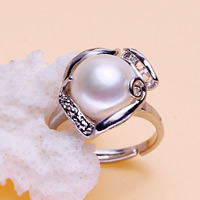 Freshwater Pearl Finger Ring Zinc Alloy with Freshwater Pearl platinum color plated natural   adjustable   for woman   with rhinestone lead   cadmium free 10-11mm US Ring Size:6.5