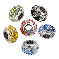 Rhinestone European Beads, Clay Pave, Rondelle, stainless steel single core without troll & with rhinestone, more colors for choice, 12x8x12mm, Hole:Approx 5mm, 10PCs/Lot, Sold By Lot