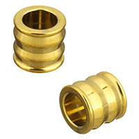 Stainless Steel European Beads, Column, gold color plated, 9x10x10mm, Hole:Approx 6mm, 10PCs/Lot, Sold By Lot