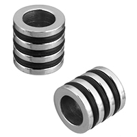 Stainless Steel European Beads, with Silicone, Column, original color, 10x10x10mm, Hole:Approx 6mm, 10PCs/Lot, Sold By Lot