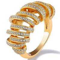 Кубический циркон микро проложить кольцо-латунь, Латунь, 18K золотым напылением, разный размер для выбора & инкрустированное микро кубического циркония & Женский, 26mm, продается PC