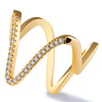 Кубический циркон микро проложить кольцо-латунь, Латунь, 18K золотым напылением, разный размер для выбора & инкрустированное микро кубического циркония & Женский, 17mm, продается PC