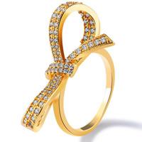 Кубический циркон микро проложить кольцо-латунь, Латунь, Бантик, 18K золотым напылением, разный размер для выбора & инкрустированное микро кубического циркония & Женский, 29mm, продается PC