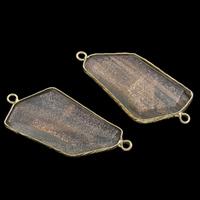 Морской опал коннектор, с цинковый сплав, плакирован золотом, 1/1 петля, 47x22x6mm, отверстие:Приблизительно 2mm, продается PC