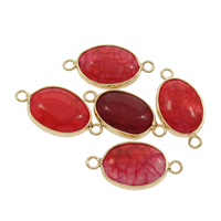 Dragon Veins Agate Connector with Zinc Alloy Oval gold color plated 1/1 loop red 26x13x6mm Hole:Approx 2mm