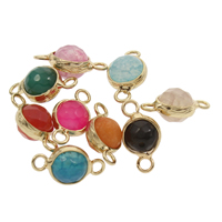 Dragon Veins Agate Connector with Zinc Alloy Flat Round gold color plated faceted   1/1 loop mixed colors 9x17x8mm Hole:Approx 2mm 2PCs/Bag