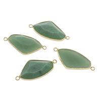 Подвески из зеленого агата, зеленый агат, с цинковый сплав, плакирован золотом, граненый & 1/1 петля, 42x19.50x7mm, отверстие:Приблизительно 2mm, продается PC