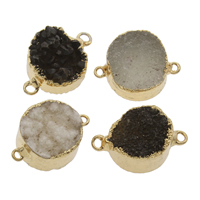 Ice Quartz Agate Connector with Zinc Alloy Flat Round gold color plated druzy style   1/1 loop mixed colors 31x20x11.5mm-29x21x12mm Hole:Approx 2.5mm 2PCs/Bag