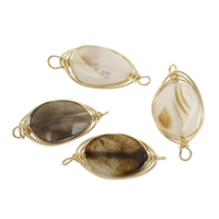 Grey Agate Connector with Brass gold color plated 1/1 loop 41x20x6mm-44x22x6mm Hole:Approx 4mm