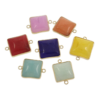 Mixed Agate Connector with Zinc Alloy Rectangle gold color plated different materials for choice   1/1 loop 27x20x6mm-29x21x9mm Hole:Approx 2mm