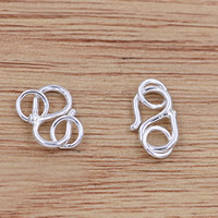 Brass S Shape Clasp real silver plated lead   cadmium free 9x5mm