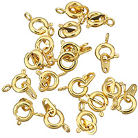 Brass Spring Ring Clasp 24K gold plated nickel lead   cadmium free 6.5x9x3mm 3.5x6.5x0.5mm Hole:Approx 1.5mm 1mm 30PCs/Lot