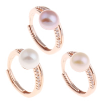 Freshwater Pearl Finger Ring Brass with Freshwater Pearl rose gold color plated natural   for woman   with rhinestone nickel lead   cadmium free 20x26x9mm US Ring Size:5