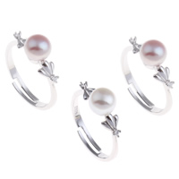 Freshwater Pearl Finger Ring Brass with Freshwater Pearl platinum color plated natural   adjustable   for woman   with rhinestone nickel lead   cadmium free 19.50x26x6.50mm US Ring Size:6.5