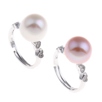 Freshwater Pearl Finger Ring Brass with Freshwater Pearl platinum color plated natural   open   adjustable   micro pave cubic zirconia   for woman nickel lead   cadmium free 20x29x11mm US Ring Size:6.5