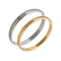нержавеющая сталь Пара браслет, Другое покрытие, с кубическим цирконием, 8x3mm, 6x3mm, внутренний диаметр:Приблизительно 62x53mm, 57x48mm, 2ПК/указан, продается указан