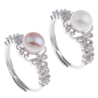 Brass Open Finger Ring with Freshwater Pearl platinum color plated natural   adjustable   for woman   with cubic zirconia nickel lead   cadmium free 23x28x11.50mm US Ring Size:9