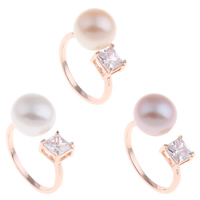Brass Cuff Finger Ring with Freshwater Pearl rose gold color plated natural   open   for woman   with cubic zirconia nickel lead   cadmium free 21x28x11mm US Ring Size:7.5