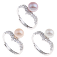 Brass Open Finger Ring with Freshwater Pearl platinum color plated natural   adjustable   for woman   with cubic zirconia nickel lead   cadmium free 21x27x11.50mm US Ring Size:7.5