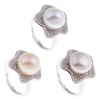 Freshwater Pearl Finger Ring Brass with Freshwater Pearl Flower platinum color plated natural   open   adjustable   micro pave cubic zirconia   for woman nickel lead   cadmium free 21x33x17.50mm US Ring Size:7.5
