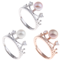 Brass Open Finger Ring with Freshwater Pearl Crown plated natural   adjustable   for woman   with cubic zirconia nickel lead   cadmium free 21.50x29x12mm US Ring Size:9