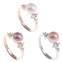 Brass Open Finger Ring with Freshwater Pearl plated natural   adjustable   for woman   with cubic zirconia nickel lead   cadmium free 20x27x8mm US Ring Size:7.5
