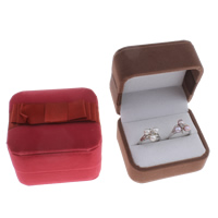 Velveteen Ring Box with Cardboard   Satin Ribbon Square 76x66x57mm