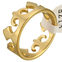 Stainless Steel Finger Ring, Crown, gold color plated, for woman, 9mm, US Ring Size:9, Sold By PC