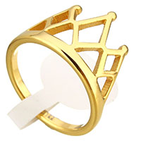 Stainless Steel Finger Ring, Crown, gold color plated, for woman, 13mm, US Ring Size:6, Sold By PC