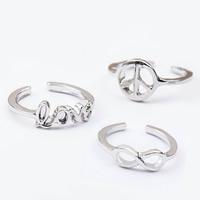 цинковый сплав Манжеты палец кольцо, слова любви, Платиновое покрытие платиновым цвет, открыть & разные стили для выбора, не содержит свинец и кадмий, 17mm, размер:6-10, продается PC