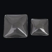 Кабошоны из стекла, Стеклянный, Квадратная форма, разный размер для выбора & плоской задней панелью, 5ПК/сумка, продается сумка