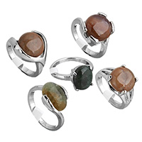 Agate Finger Ring Brass with Indian Agate platinum color plated natural   for woman   mixed nickel lead   cadmium free 11-16mm US Ring Size:7-9 100PCs/Box