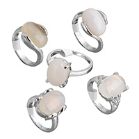 Agate Finger Ring Brass with Grey Agate platinum color plated natural   for woman   mixed nickel lead   cadmium free 13-15mm US Ring Size:5-10 100PCs/Box