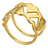 Stainless Steel Finger Ring Heart gold color plated for woman 12mm US Ring Size:9