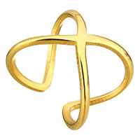 Stainless Steel Cuff Finger Ring gold color plated for woman 18mm US Ring Size:9