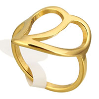 Stainless Steel Finger Ring Peach gold color plated for woman 16mm US Ring Size:6