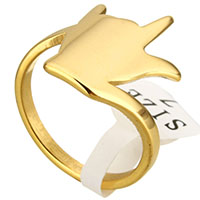 Stainless Steel Finger Ring Hand gold color plated for woman 18mm US Ring Size:7